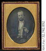 Portrait of a Seated Man Holding a Cane, Emil Mangel du Mesnil (French, 1815 - 1890), Mexico, 1852, Daguerreotype (2019 год). Редакционное фото, фотограф ARTOKOLORO QUINT LOX LIMITED / age Fotostock / Фотобанк Лори