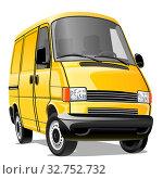 Купить «Мультяшный микроавтобус изолированно на белом фоне. Векторная иллюстрация», иллюстрация № 32752732 (c) Рожков Юрий / Фотобанк Лори