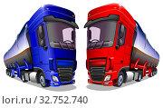 Купить «Мультяшные грузовые автомобили изолированно на белом фоне. Векторная иллюстрация.», иллюстрация № 32752740 (c) Рожков Юрий / Фотобанк Лори