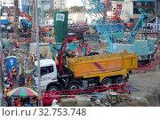 Купить «Hong Kong, China, construction site in the city», фото № 32753748, снято 6 декабря 2017 г. (c) Caro Photoagency / Фотобанк Лори