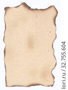 Купить «Бумажная ретро текстура светло-коричневого цвета, лист бумаги с обожжёнными краями», иллюстрация № 32755604 (c) александр афанасьев / Фотобанк Лори