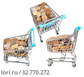 Купить «Set from shopping carts with russian coins isolated on white background», фото № 32770272, снято 29 января 2020 г. (c) easy Fotostock / Фотобанк Лори