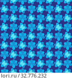 Seamless pattern. Background abstract natural floral dark and light blue cyan turquoise purple with a decorative pattern and a pattern of flowers, keynote, wrapping paper, tablecloth, fabric. Стоковая иллюстрация, иллюстратор Светлана Евграфова / Фотобанк Лори