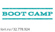 Boot Camp watermark stamp. Text tag between horizontal parallel lines with grunge design style. Rubber seal cyan stamp with dust texture. Vector ink imprint on a white background. Стоковое фото, фотограф ZOONAR GMBH LBRF / easy Fotostock / Фотобанк Лори