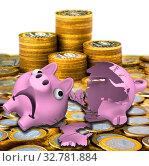 Купить «Разбитая копилка в форме свинки с российскими монетами», иллюстрация № 32781884 (c) WalDeMarus / Фотобанк Лори