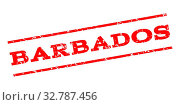 Barbados watermark stamp. Text caption between parallel lines with grunge design style. Rubber seal stamp with unclean texture. Glyph red color ink imprint on a white background. Стоковое фото, фотограф ZOONAR GMBH LBRF / easy Fotostock / Фотобанк Лори
