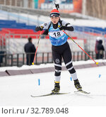 Купить «Korean sportswoman biathlete Choi Yoonah skiing on distance biathlon stadium. Junior biathlon competitions East of Cup», фото № 32789048, снято 12 апреля 2019 г. (c) А. А. Пирагис / Фотобанк Лори