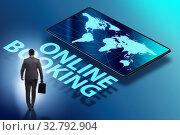Купить «Concept of online hotel booking with businessman», фото № 32792904, снято 29 февраля 2020 г. (c) Elnur / Фотобанк Лори