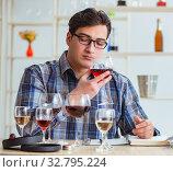 Купить «Professional sommelier tasting red wine», фото № 32795224, снято 31 марта 2017 г. (c) Elnur / Фотобанк Лори