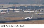 Купить «Malaysia Airlines Airbus A330 departure from Hong Kong», видеоролик № 32795472, снято 10 ноября 2019 г. (c) Игорь Жоров / Фотобанк Лори