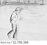 Купить «A man walks along the river. A man holding a cigarette. Pencil drawing on paper», иллюстрация № 32798388 (c) Олег Хархан / Фотобанк Лори