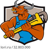 Купить «Illustration of a minotaur bull plumber in overalls holding adjustable wrench looking to the side set inside shield crest on isolated background done in cartoon style.», фото № 32803000, снято 29 марта 2020 г. (c) easy Fotostock / Фотобанк Лори