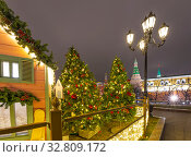 Купить «Christmas (New Year holidays) decoration in Moscow (at night), Russia-- Manege Square near the Kremlin», фото № 32809172, снято 21 декабря 2019 г. (c) Владимир Журавлев / Фотобанк Лори