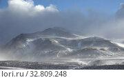 Купить «Blizzard and strong snow windstorm in Altai Kuray mountain range in winter season.», видеоролик № 32809248, снято 14 сентября 2019 г. (c) Serg Zastavkin / Фотобанк Лори