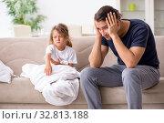 Купить «Father taking care of his ill daughter», фото № 32813188, снято 6 августа 2019 г. (c) Elnur / Фотобанк Лори