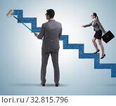 Купить «Businessman helping colleague to progress in career ladder», фото № 32815796, снято 5 июля 2020 г. (c) Elnur / Фотобанк Лори