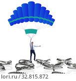 Купить «Businessman falling into trap on parachute», фото № 32815872, снято 8 апреля 2020 г. (c) Elnur / Фотобанк Лори