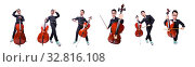 Купить «Funny man with violin on white», фото № 32816108, снято 13 мая 2013 г. (c) Elnur / Фотобанк Лори