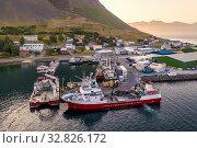Harbor, Bildudalur, Arnarfjordur fjord, Westfjords, Iceland. Стоковое фото, фотограф Ragnar Th. Sigurdsson / age Fotostock / Фотобанк Лори