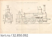 Truck locomotive on the Herzogl. Braunsch. Railroad built in the engineering factory of Georg Egestorff in Linden before Hanover, Fig. 1: Side view of... Редакционное фото, фотограф ARTOKOLORO QUINT LOX LIMITED / age Fotostock / Фотобанк Лори