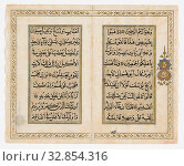 Islamic, Indian, Qur'an Bi-Folio, early 19th Century, Ink, colors and gold on paper, 7 3/8 x 9 1/8 in. (18.7 x 23.2 cm) Редакционное фото, фотограф ARTOKOLORO QUINT LOX LIMITED / age Fotostock / Фотобанк Лори