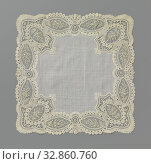 Купить «Handkerchief with mixed lace border with bell-shaped corner reserves, Handkerchief of natural colored mixed lace: Brussels duchesse. Around a large, hollowly...», фото № 32860760, снято 9 апреля 2020 г. (c) age Fotostock / Фотобанк Лори