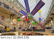 New Year in State Department Store (GUM). Festive interior. Москва. Редакционное фото, фотограф Валерия Попова / Фотобанк Лори