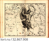 Купить «Orion, Map of the constellation Orion, Fig. 44, Fig. QQ, p. 21, Johannes Hevelius, Johann Ernst von Schmieden: Johannis Hevelii prodromus astronomiae,...», фото № 32867908, снято 27 мая 2020 г. (c) age Fotostock / Фотобанк Лори