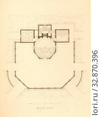 Plan of the Pavilion, Floor plan of the summer house in the garden of Buckingham Palace, pl., 1, according to p. 11, Ludwig Gruner, Anna Jameson: The decorations... Редакционное фото, фотограф ARTOKOLORO QUINT LOX LIMITED / age Fotostock / Фотобанк Лори