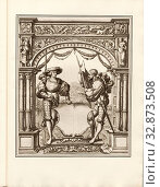 Badge and two lansquenets, Empty blazon supported by two mercenaries, Pl. XV, after S. XLIII, Holbein, Hans (dess.), Boussod, Valadon & Cie (ed.), Eduard... Редакционное фото, фотограф ARTOKOLORO QUINT LOX LIMITED / age Fotostock / Фотобанк Лори