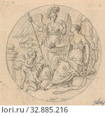 Allegory of Reason (in box with 43 drawings), Reason, 'Ragione' (Ripa), Louis Fabritius Dubourg, 1703 - 1775, paper, ink, pencil, brush, h 75 mm × w 77 mm. Редакционное фото, фотограф ARTOKOLORO QUINT LOX LIMITED / age Fotostock / Фотобанк Лори