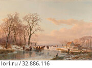 Купить «A Frozen Canal near the River Maas A frozen waterway near the Maas, A frozen canal near the Maas. Winter landscape with skaters and horse-drawn sleigh...», фото № 32886116, снято 2 июня 2020 г. (c) age Fotostock / Фотобанк Лори