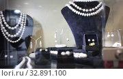 Купить «Variety of necklaces, bracelets and earrings made of white and black pearls on mannequins in jewelry store window», видеоролик № 32891100, снято 31 октября 2019 г. (c) Яков Филимонов / Фотобанк Лори
