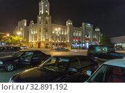 Купить «Night illumination of a building in the Gothic style. Baku city. Republic of Azerbaijan», фото № 32891192, снято 29 сентября 2019 г. (c) Евгений Ткачёв / Фотобанк Лори