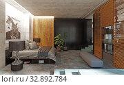 modern loft bedroom interior. Стоковое фото, фотограф Виктор Застольский / Фотобанк Лори
