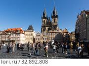 Купить «Prague, Czech - October 13, 2019: Old Town Square on bright autumn day. Prague. Czech Republic», фото № 32892808, снято 13 октября 2019 г. (c) Яков Филимонов / Фотобанк Лори