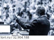 Купить «Business speaker giving a talk at business conference event.», фото № 32904188, снято 8 сентября 2016 г. (c) Matej Kastelic / Фотобанк Лори