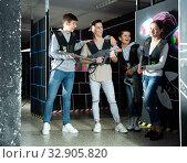Купить «Portrait of the winners in the game laser tag», фото № 32905820, снято 22 февраля 2020 г. (c) Яков Филимонов / Фотобанк Лори