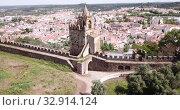 Купить «Panoramic view from drone of the castle Montemor o Novo. The Alcaides palace ruins. Evora district. Alentejo, Portugal», видеоролик № 32914124, снято 20 апреля 2019 г. (c) Яков Филимонов / Фотобанк Лори
