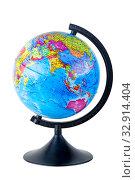 school globe isolated on white background close-up. Стоковое фото, фотограф Константин Лабунский / Фотобанк Лори
