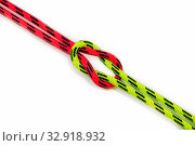 Reef, Hercules, square, double or brother hood Binding knot binding two colored red and green ropes. nautical loop used to secure rope or fishing line around an object. Isolated on white background. Стоковое фото, фотограф Алексей Ширманов / Фотобанк Лори