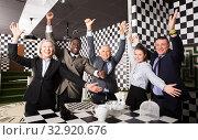 Купить «Friends spending time at escape room», фото № 32920676, снято 29 января 2019 г. (c) Яков Филимонов / Фотобанк Лори