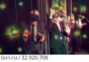 Купить «Man wearing virtual reality glasses», фото № 32920708, снято 29 января 2019 г. (c) Яков Филимонов / Фотобанк Лори