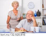 Купить «Upset mature man after discord with woman», фото № 32920816, снято 28 августа 2017 г. (c) Яков Филимонов / Фотобанк Лори