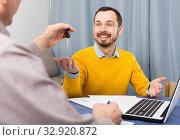Купить «Mature man and manager contract car lease», фото № 32920872, снято 5 июня 2020 г. (c) Яков Филимонов / Фотобанк Лори