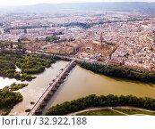 Cordoba with Roman Bridge over the Guadalquivir and the Mosque-Cathedral (2019 год). Стоковое фото, фотограф Яков Филимонов / Фотобанк Лори