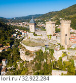 Aerial view of Chateau de Foix (2018 год). Стоковое фото, фотограф Яков Филимонов / Фотобанк Лори