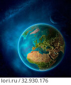 Купить «Planet Earth with highlighted Croatia in space with Moon and Milky Way. Visible city lights and country borders. 3D illustration. Elements of this image furnished by NASA.», фото № 32930176, снято 12 июля 2020 г. (c) easy Fotostock / Фотобанк Лори