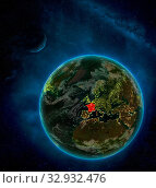 Купить «France from space on Earth at night surrounded by space with Moon and Milky Way. Detailed planet with city lights and clouds. 3D illustration. Elements of this image furnished by NASA.», фото № 32932476, снято 12 июля 2020 г. (c) easy Fotostock / Фотобанк Лори