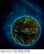 Купить «Ghana from space on Earth at night surrounded by space with Moon and Milky Way. Detailed planet with city lights and clouds. 3D illustration. Elements of this image furnished by NASA.», фото № 32932576, снято 12 июля 2020 г. (c) easy Fotostock / Фотобанк Лори
